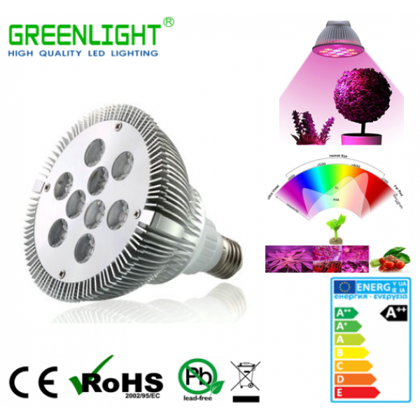 Led Spot E27 9.8W 90-260Vac GROW